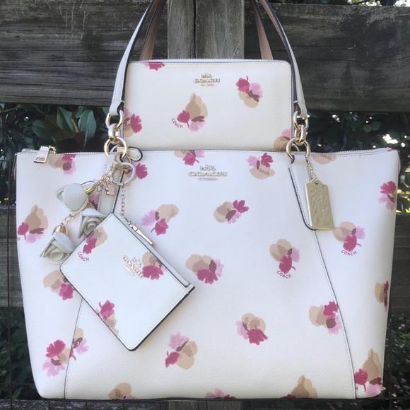 55192 Coach Chalk Floral Ava Wallet ID Purse Set
